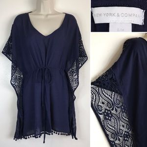 Sheer Lace Tassel Hemline Navy BLUE Tunic